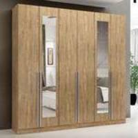 Guarda-roupa 6 Portas 3 Gavetas New Toronto Ipê Tex Com Espelho - Maxel 0c2b634650156