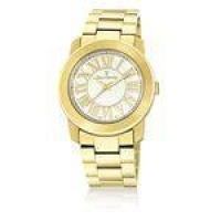 Relógio Jean Vernier Vidro Cristal Mineral Feminino Moderno Dourado
