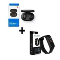 Kit Fones de ouvido Xiaomi Redmi Airdots Bluetooth 5.0 + Relógio Inteligente Smartband M4 Monitor Cardíaco Bluetooth