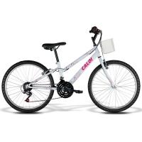 Bicicleta Caloi Ceci 21 Marchas Aro 24 Rosa e Branco