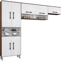 Cozinha Compacta Poliman Milena Amêndoa e Branco Mel 3 Peças