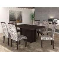 Conjunto De Mesa Liptus Paula Com 6 Cadeiras Estofadas San Marino Wengue