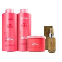Kit Wella Invigo Brilliance Shampoo 1L+ Condicionador 1L + Máscara 500ml + Óleo Sp Luxe 100ml