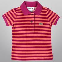 Camisa Lacoste Polo Listrada Girls Infantil Feminina Rosa   JáCotei 680d2ade36