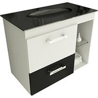 Gabinete para Banheiro Tomdo Linea 17/80cm com Pia de Vidro Branco e Preto