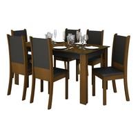 Conjunto de Mesa Madesa com 6 Cadeiras Melissa Imbuia e Preto