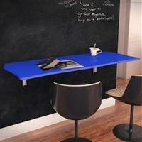 Mesa Dobrável Suspensa Flat Em MDF De 15 mm Com Suporte Metálico 90cm Azul