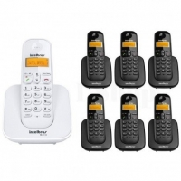 Telefone Sem Fio Intelbrás TS3110 Branco + 6 Ramais Sem Fio TS3111 Preto