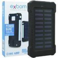 Carregador Portátil Power Bank Solar Bateria 8000 mAh Celular 2 x USB Exbom PB-S80 Preto Lanterna