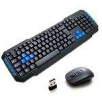 Kit Teclado Mouse Sem Fio Gamer Atitude Mix Preto e Azul