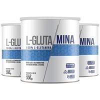 Kit 3xL-Glutamina unidades de 300 Gramas Clinic Mais