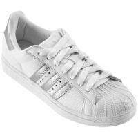 Tênis Adidas Star 2 W Branco e Prata Feminino  ee32a0bd56c9f