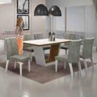 Mesa De Jantar Alemanha C/6 Cadeiras África Rato I Branco/imbuia Mel/imbuia Mel - Leifer Móveis