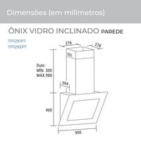 Coifa de Parede Suggar Onix Vidro Inclinado 90cm Preto
