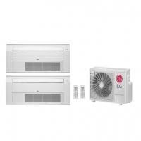 Ar Condicionado Multi Split LG Cassete Inverter AMNH09GTUC0/A2UW18GFA2 Bi 1 Via 18000 BTUs (2x 9.000) Quente Frio Branco 220V