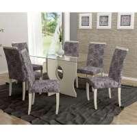 Conjunto De Mesa Liptus Luiza 6 Cadeiras Estofadas Rafia Nacre