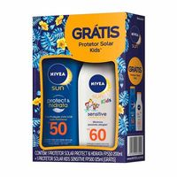 Kit Nivea Protetor Solar Protect & Hidrata FPS50 200ml + Kids Sensitive FPS60 125ml