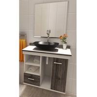 Gabinete para Banheiro VTEC Arkab Nairobi com Cuba e Espelho Branco e Cinza 50x60x35cm