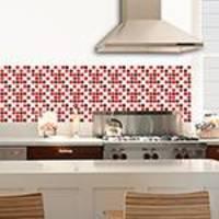 Adesivo de Parede Decorativo para Revestimento Stixx Pastilhas Carmim Tons Vermelho (123x61cm)