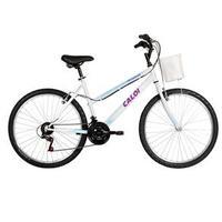 Bicicleta Caloi Ventura Aro 26 com 21 Marchas e Cesto Dianteiro Branca