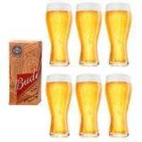 6 Copos Budweiser Litografados De 400ml - Embalagem Individual