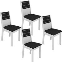 Kit de Cadeiras de Jantar Madesa Vega Preto e Branco 4 Peças