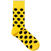 Meia Happy Socks Big Dot Amarela e Preto