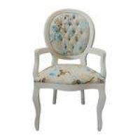 Cadeira De Jantar Medalhão Capitonê Com Braço Branco Fosco E Grace Azul