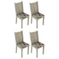Conjunto 4 Cadeiras Lucy Madesa Acácia Floral Hibiscos