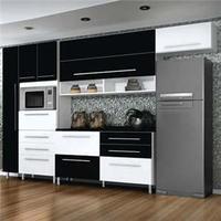 Cozinha Bartira Glamour com 4 Peças Branco/Preto