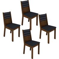 Kit de Cadeiras de Jantar Madesa Vega Preto e Imbuia 4 Peças