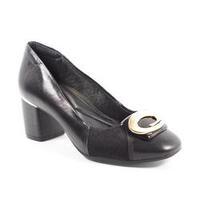Sapato Feminino Em Couro Preto Comfortflex - 575