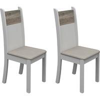 Kit 2 Cadeiras Madesa Luna Suede Pérola, Branco BP e Savana