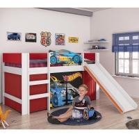 Cama infantil Pura Magia Hot Wheels Play Vermelho + Escorregador