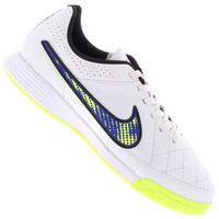 6477b685ff Chuteira de Futsal Nike Tiempo Genio Leather IC Infantil Masculina Branco e  Verde Claro