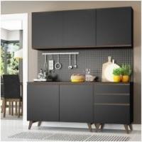 Cozinha Compacta Madesa Glamy G200807K8NML - com Balcão 5 Portas 3 Gavetas
