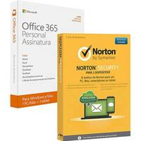 Microsoft Office 365 Personal Para 1 Computador pc Ou Mac E 1 Tablet Ou Smartphone + Norton Antivírus Security 2.0 1 Dispositivo 12 Meses