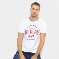 Camiseta T-Shirt Replay Estampada Masculina - Masculino