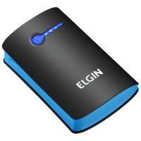Carregador de Bateria Portátil Elgin CP 5200mAh Preto e Azul + Cabo USB