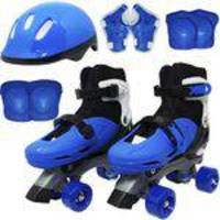 Patins Clássico Quad 4 Rodas Roller + Acessórios Masculino Azul Tam 37 38 39 40 Importway BW-017-AZ