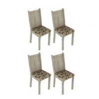 Conjunto 4 Cadeiras Lucy Madesa Acácia Floral Bege Marrom