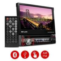 DVD Player Automotivo Shutt Califórnia BT Bluetooth 7 Retrátil USB SD MP3 + Kit Fácil Hurricane