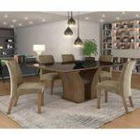 Conjunto Sala De Jantar Mesa Tampo Mdf/vidro 6 Cadeiras Leblom Lj Móveis Castanho