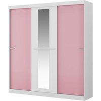 Guarda Roupa Móveis Carraro 3 Portas Espelho Allegro Branco e Rosa