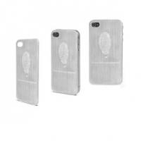 Tampa Traseira Metal Digital Logo + Película Protetora Muvit para iPhone 4 e 4S Prata