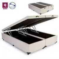Cama Box Queen Size Com Bau Pistão A Gás Corino Bege Bipartido - 158x198x27