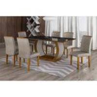 Conjunto Sala de Jantar Mesa Tampo MDF/Vidro 180cm 6 Cadeiras Luanda Rufato Imbuia/Preto/Suede