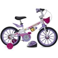 Bicicleta Fischer Ferinha Super Aro 16 Freio V-Brake Branca e Lilás + Acessórios