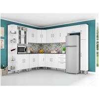 Cozinha Completa Poliman Móveis Suíça Com Balcão Nicho Para Forno micro ondas 20 Portas 2 Gavetas Branco