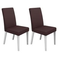 Kit de Cadeiras Madesa Onix Courino Marrom 2 Peças
